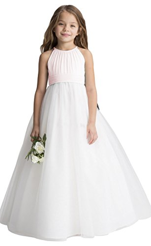 (fairy Girl Flower Girl Dress Tulle Chiffon Junior Bridesmaid Dresses for Wedding Party Pageant Aline Blush Pink,)