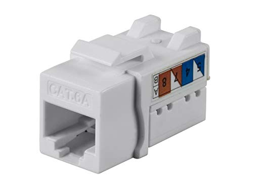 (Monoprice Cat6A 90 Degree Unshielded Punch Down Keystone Jack, Dual Type IDC, 25 Pack, White)