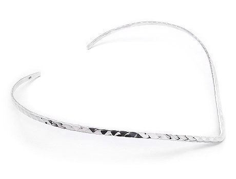 Silver Collar Sterling (3mm Wide Hammered Finish Sterling Silver 17