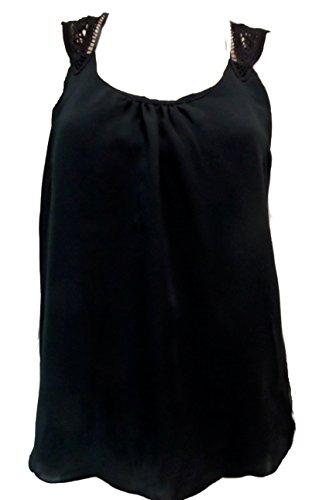 Mujer Chifón, forrado de algodón bordado diseño de mariposa Top negro
