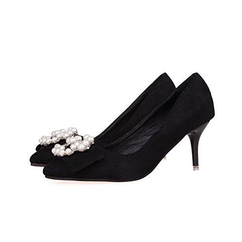 Aalardom Donna Imitazione Pelle Scamosciata Solidi Spuntoni-stiletti Scarpe A Punta Pompe-scarpe Con Strass Nero-gioielli