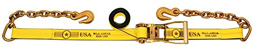 2'' x 27' Ratchet Tie Down Strap with Chain Extensions - w/ Webbing Made in USA | TieDownsPlus by Tie Downs Plus
