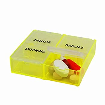 PEEK-A-BOX Pill Reminder (Yellow 4 Compartment)
