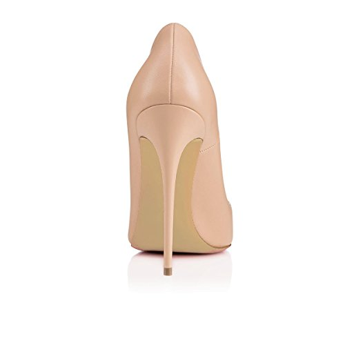 Talon PU Chaussures Stilettos 120MM Beige Femme Grande Talon Haut Chaussures Talons Aiguille uBeauty Femmes Escarpins Taille Chaussures zqpOOBI
