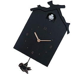 kesoto Birdhouse Modern Cuckoo Clock Natural Bird Call Pendulum Wall Clock Kids Gifts - Battery Operated - Model 1