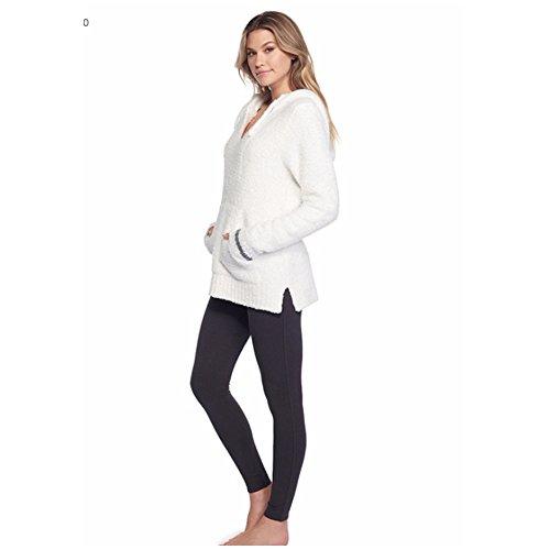 Barefoot Dreams CozyChic Adult Unisex Baja Hoodie (1, White / Graphite (Dream Hoody Sweatshirt)