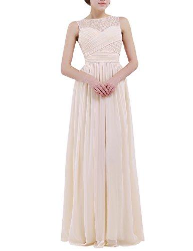 iiniim Damen Kleid Elegant A-Linie Chiffon Abendkleid Brautjungfern Hochzeit Cocktailkleid Ballkleid Gr.34-46 Aprikose 6SXztstJ