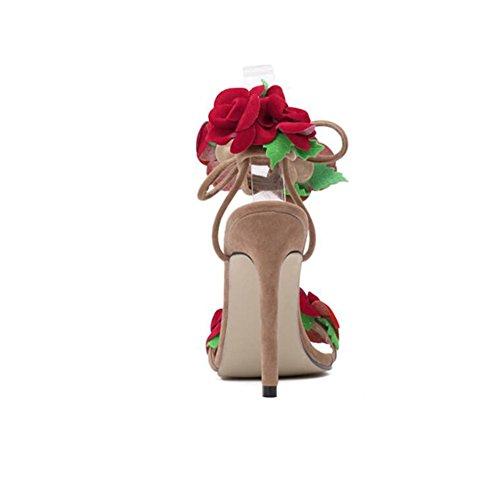 Festa in Fiori Serate Nozze HUAN Donna a Estate Scarpe e Croce Spillo Primavera per Tacco Rosa da Tracolla di la Un Microfibra qqatxfR