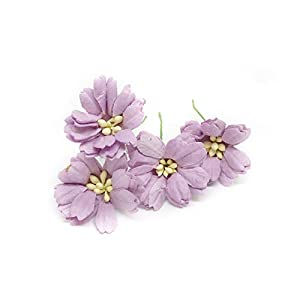"1.5"" Lilac Purple Paper Daisies, Mulberry Paper Flowers, Miniature Flowers, Wedding Decor Flowers, Artificial Flowers Craft Flowers 25 Pieces 55"