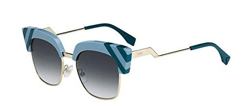 New Fendi WAVES FF 0241/S MVU/9K Light Blue green/grey shaded Sunglasses