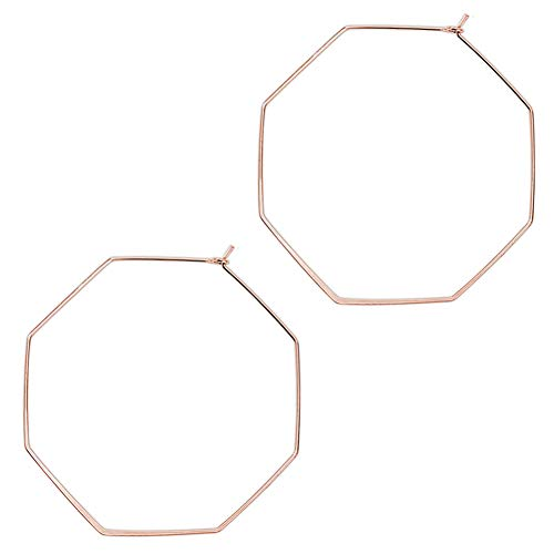 Rose Gold Lightweight Wire Threader Earrings Octagon Stud Earrings Hoops Thin Dainty Polygon Drop Dangles for Women(Rose Gold) ()