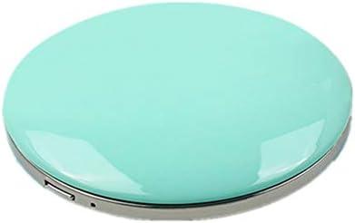 ポータブル化粧鏡 1Xと3Xメイクランプの光LEDメイクアップミラーミラーのUSB電源ポータブルミラーをダブル両面 回転式化粧鏡 (色 : 緑, Size : 7.5cm)