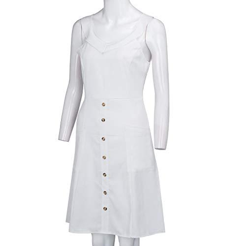 Casual Ceinture Manches De Rétro Genou Plissée Col Design Couleur V Robe Au Elegant Bouton Blanc1 Mini Bretelles Rovinci Unie Sans femme À 6aBRR8