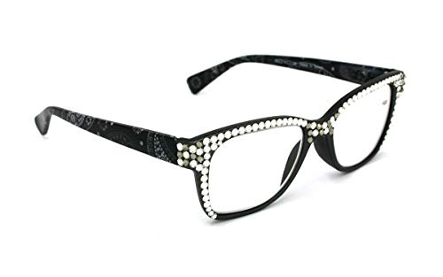 The Contemporary, Full Top, Retro Square Women Reading Glasses with Clear and Black Diamond Swarovski Crystals +1.25 +1.50 +2.00 +2.50 +3.00 Frosted Black Paisley. NY Fifth Avenue.