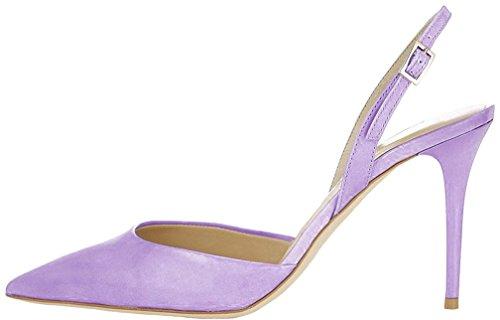 Calaier Mujer Cawish Tacón De Aguja 8CM Sintético Hebilla Sandalias de vestir Zapatos Morado