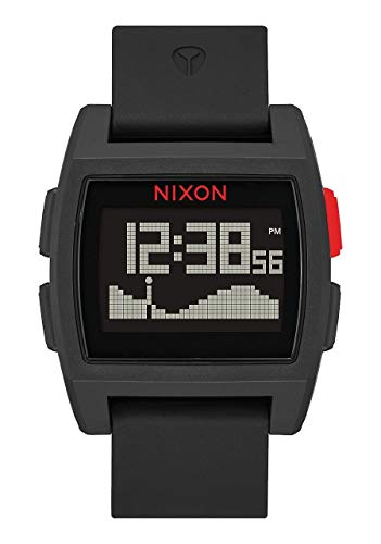 NIXON Base Tide A1105 - Black/Red - 101M Water Resistant Men's Digital Surf Watch (38 mm Watch Face, 23 mm Pu/Rubber/Silicone Band) (Nixon 51 30 Tide Watch)