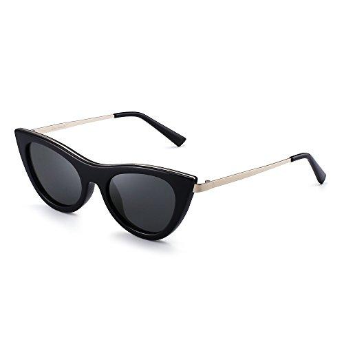 Claro Anteojos Clout Tintado Negro Gafas de Mujer Goggles de Gato Plano Ojos De Lentes Sol Gris Moda qBIwOn