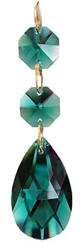 Green Crystal Chandelier - 38mm Teardrop Pendants Chandelier Crystal Prisms Pendants Glass Pendants Beads, Pack of 10 (Peacock Green)