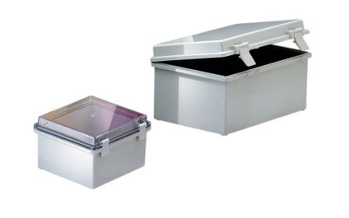 BUD Industries NBF-32410 Plastic Outdoor NEMA Economy Box with Clear Door, 5-57/64'' Length x 5-57/64'' Width x 3-17/32'' Height, Light Gray Finish by BUD Industries