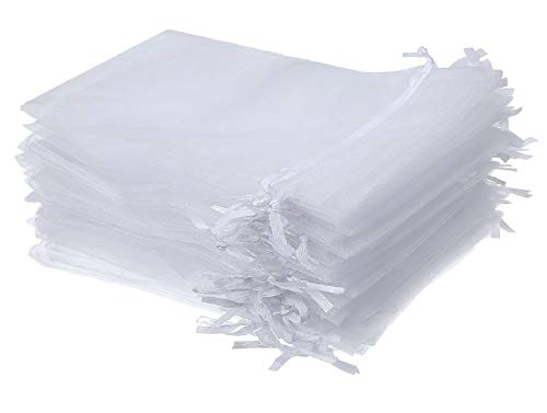 Wuligirl 100 PCS 4x6 Inches Drawstring Organza Bag White Jewelry Pouches Baby Shower Party Wedding Favor Bags (White 100 pcs, 4x6
