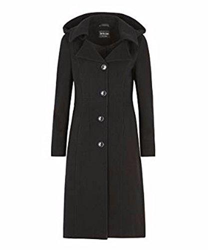 De La Creme Anastasia-Black Womens Winter Cashmere Hooded Coat Size 12