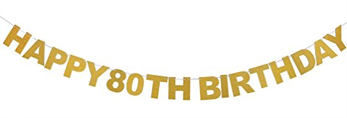 INNORU TM Happy 80th Birthday Banner Gold Glitter Letters Hang Bunting - 80th Birthday Party Decorations Supplies ()