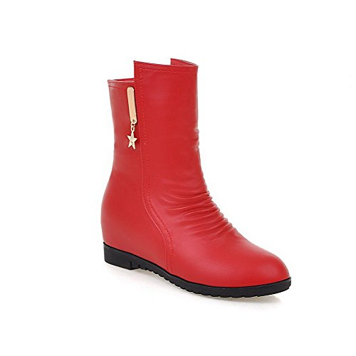VogueZone009 Damen Niedrig-Spitze Reißverschluss Mittler Absatz Quadratisch Zehe Stiefel, Rot, 37