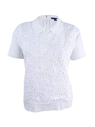 's Back-Zip Lace-Front Short-Sleeve Top (Ivory, Medium) ()