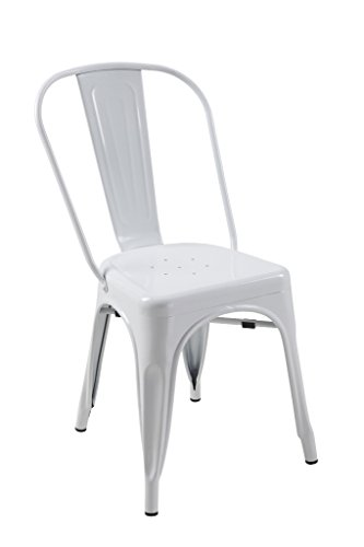 ATC Manhattan Powder-Coated Steel Side Chair, White (Pack of 4)
