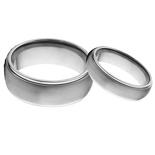 Free Engraving His & Her's 8mm/6mm Brushed Center Shiny Edge Tungsten Carbide Wedding Band Ring Set