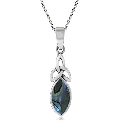 - Abalone/Paua Shell Inlay 925 Sterling Silver Triquetra Celtic Knot Pendant w/ 18 Inch Chain Necklace