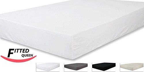 Queen Size Fitted Sheet, 600 Thread Count 100% Egyptian Cotton 1 Piece Luxury Hotel Fitted Sheet/Bottom Sheet White Solid-100% Satisfaction Guarantee- 12