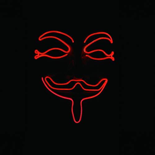 Sunworld Halloween Mask LED Glow Scary EL Wire Light up Masks for Festival Parties Costume V for Vendetta Masks Red for $<!--$20.69-->