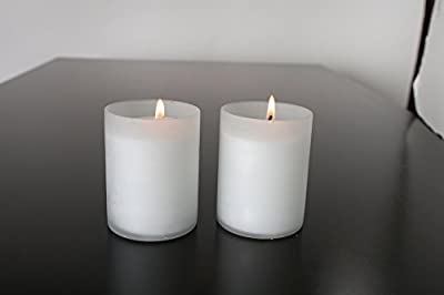 Hosley Value Pack of 24 Frosted White Glass Votive, LED Tealight Holder. Ideal Gift for Wedding Day, for Parties, Aromatherapy, Spa, Candle Gardens O3
