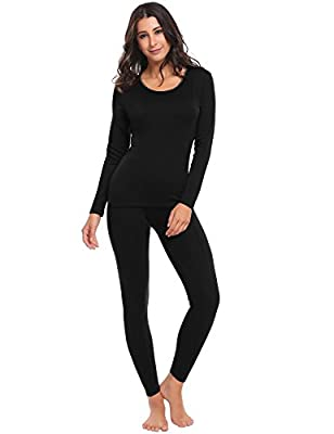 Hufcor Women Long Johns Thick Thermal Underwear Set Long Sleeve Tops with Elastic Waist Pants