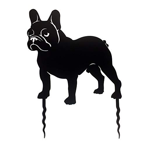 Pet-Deco Standing French Bulldog Garden Decoration | Dog Ornaments for The Yard, Lawn, Patio, and Home | Flat Metal Decorative Outdoor Stand and Welcome Sign & Durable Steel