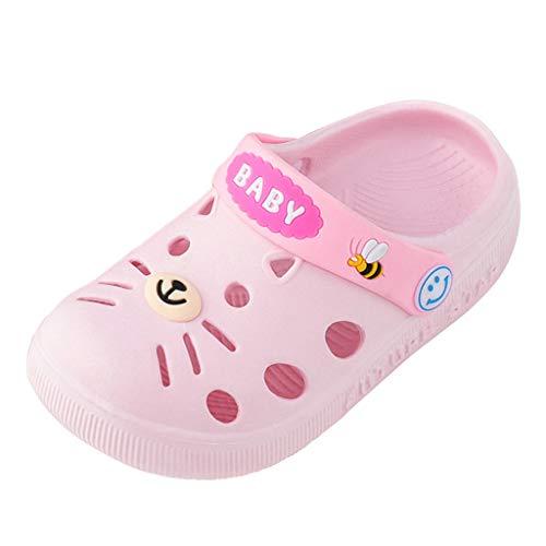 Kids Boys Girls Classic Clogs Cartoon Kitten Slip On Garden Water Shoe Lightweight Summer Beach Slippers Pink
