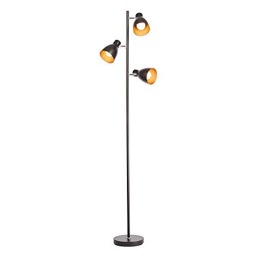 B.K.Licht vloerlamp I zwart goud I LED Halogeen E27 I metaal I retro vloerlamp I moderne vloerlamp I plafondvloed I…