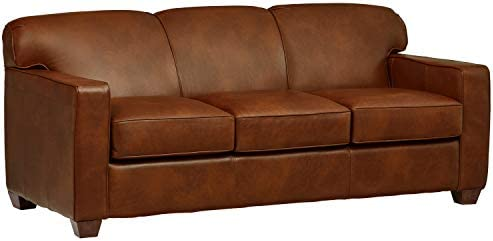Amazon Brand Stone Beam Fischer Queen-Sized Sleeper Sofa, 79 W, Chestnut Leather