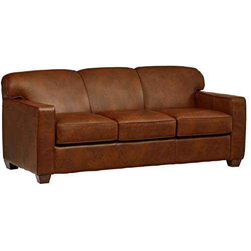 Stone Beam Fischer Queen-Sized Sleeper Sofa, 79 W, Chestnut Leather