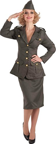 Ladies Halloween Hen Night Party Dress Military Soldier Ww11 Army Gal (Hen Night Army Costumes)