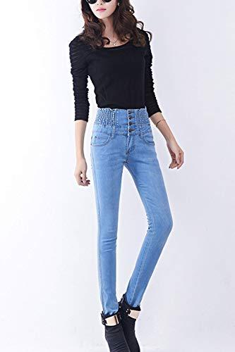 Mince De Taille Bleues Taille Jeans des Pantalon Haute Denim Claires Long Les Et Femmes 7WgvpnY