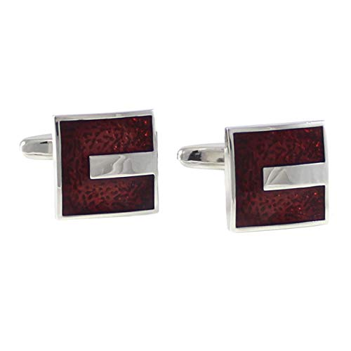 (MENDEPOT Rhodium Plated Classic Transparent Burgundy Epoxy Cufflinks With Gift Box)