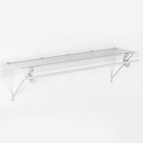 Rod Clothes Hanging (ClosetMaid 5631 SuperSlide Ventilated Shelf Kit with Closet Rod, 4-Foot x 12-Inch, White)