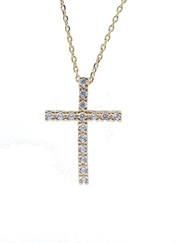 - NickAngelo's Christian Cross Pendant Necklace Chain 18K Gold Plated Elegant Religious Jewelry (Yellow-Gold-Plated-Copper, Cubic-Zirconia)