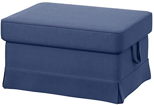 Easy Fit The Ektorp Footstool Cover Replacement is Custom Made IKEA Ektorp Ottoman Stool Slipcover (Blue)