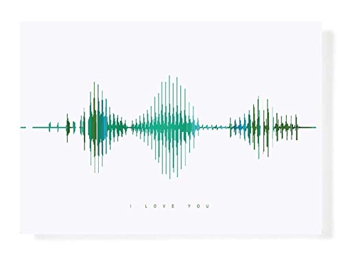 I Love You Visible Love Gift Sound Wave Art, Mother's Day Present, Wart Art, A4 Unframed, Anniversary Gift Ideas, Green and -