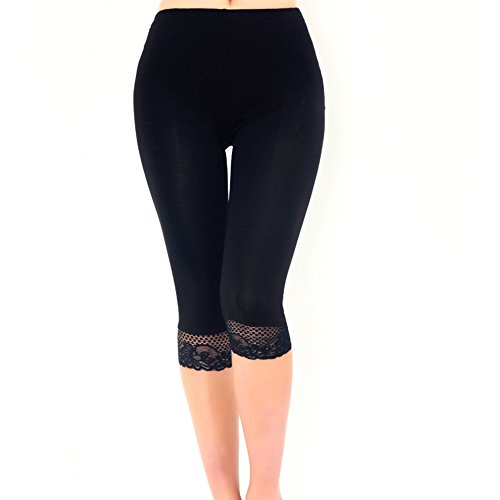 Women's Ultra Thin Capri Crop Leggings with lace edging