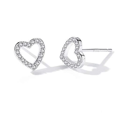 WikiMiu Women's Heart Stud Earrings, Diamond Cutout Love Earrings Jewelry for OL, Party, Club, Cocktail, Festival, Mother Day