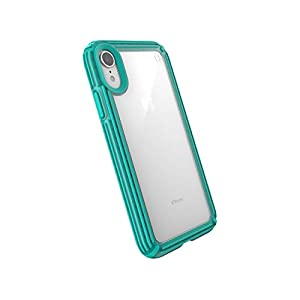 Speck Products Compatible Phone Case for Apple iPhone XR, Presidio V-Grip Case, Clear/Caribbean Blue